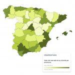 Valor de la vivienda por províncias. Fuente: Idealista.com